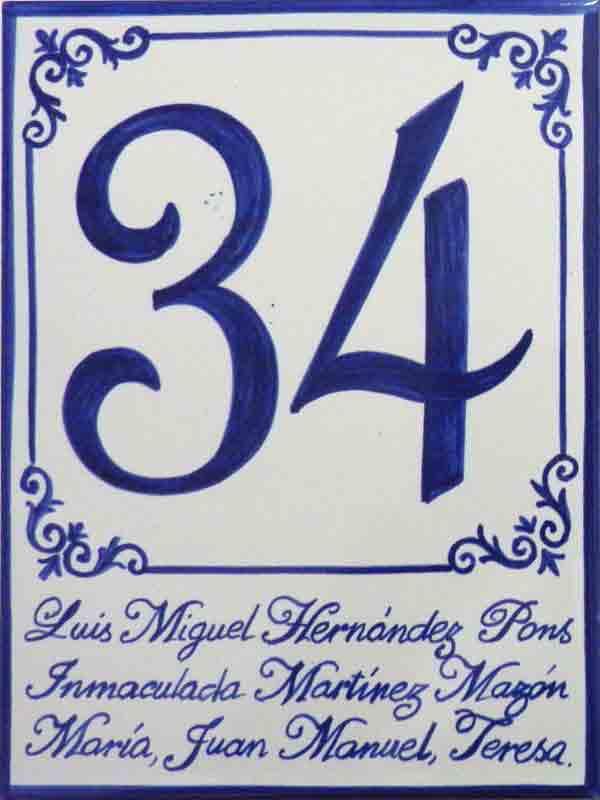 Azulejos sevillanos artesanos pintados a mano - Cerámicas Artesur - Número 34