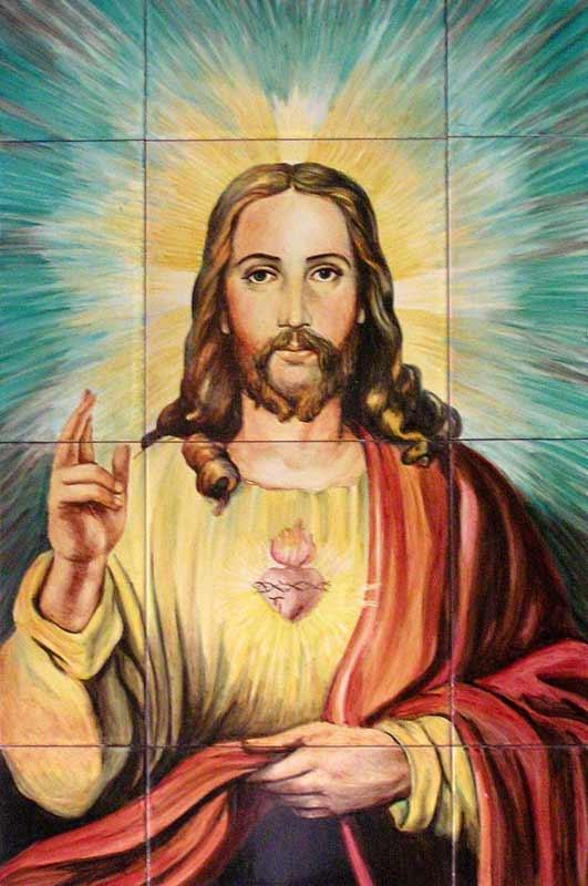 Azulejos sevillanos artesanos pintados a mano - Cerámicas Artesur - Corazón de Jesús