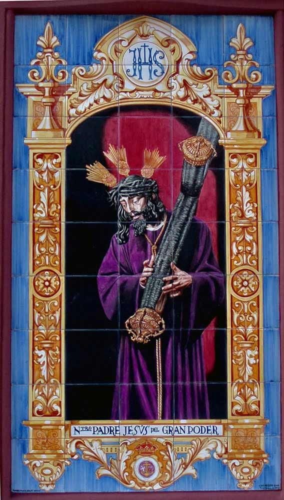 Azulejos sevillanos artesanos pintados a mano - Cerámicas Artesur - Jesús del Gran poder