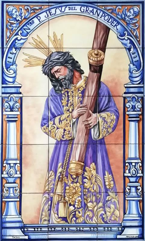 Azulejos sevillanos artesanos pintados a mano - Cerámicas Artesur - Jesús del Gran poder-2