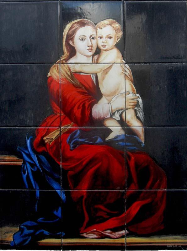 Mural de Virgen con niño