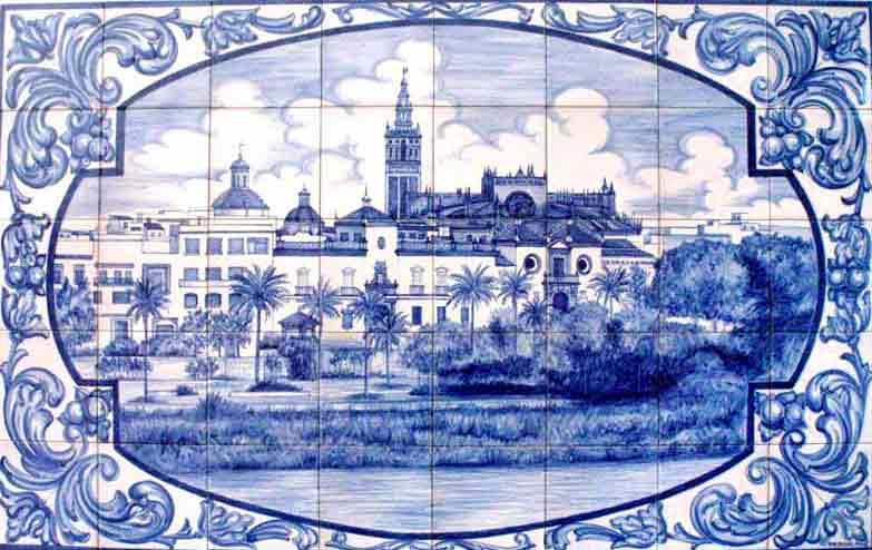 Azulejos sevillanos artesanos pintados a mano - Cerámicas Artesur - Paisajes - 3
