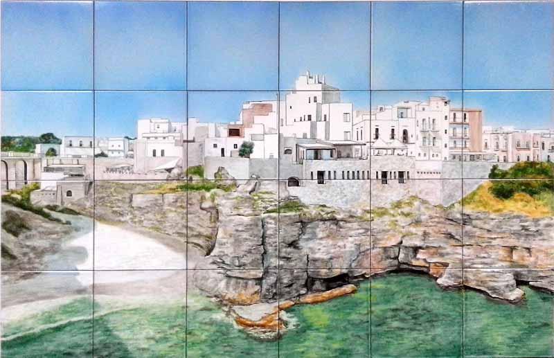 Mural con pueblo costero
