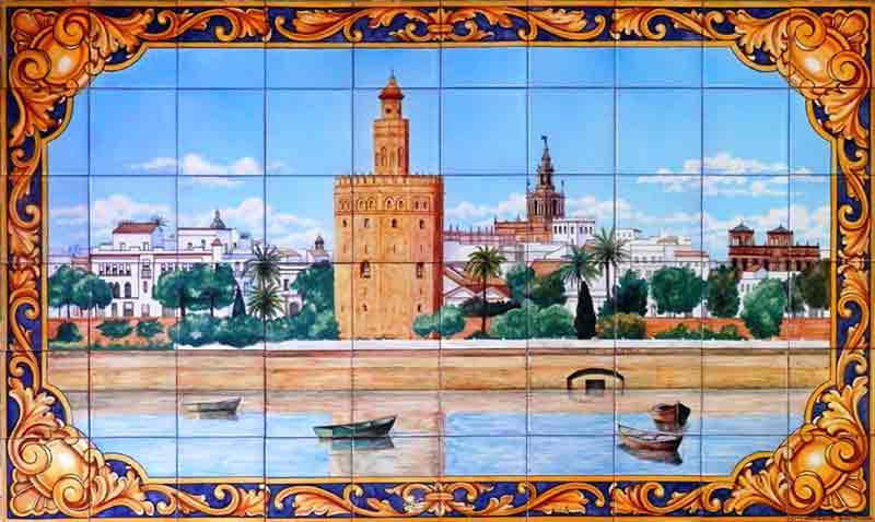 Azulejos sevillanos artesanos pintados a mano - Cerámicas Artesur - Paisajes - 5