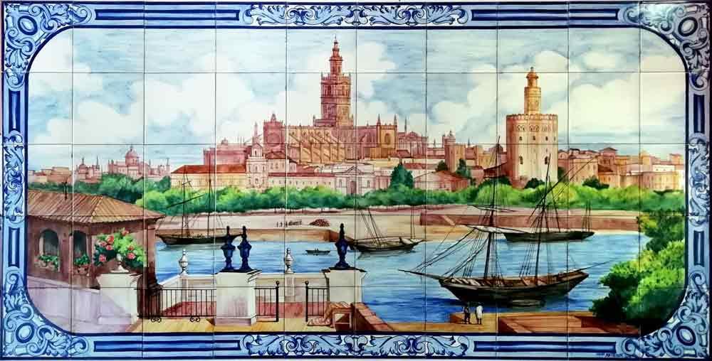 Azulejos sevillanos artesanos pintados a mano - Cerámicas Artesur - Paisajes - 6