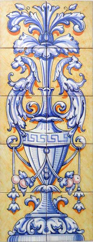 Ornamento vertical en azul y ocre