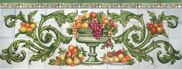 Jarrón con frutas barroco en verde
