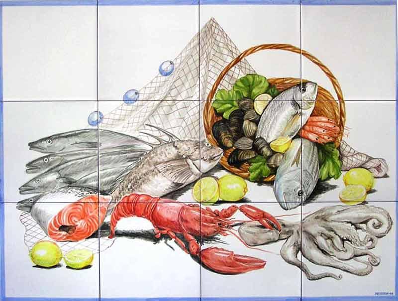 Bodegón con pescados y mariscos