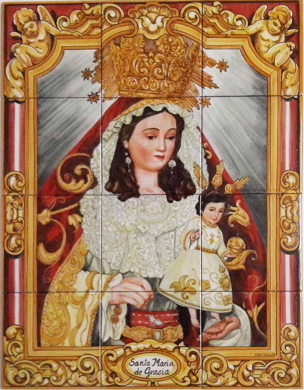 Azulejos sevillanos artesanos pintados a mano - Cerámicas Artesur - Virgen - 10