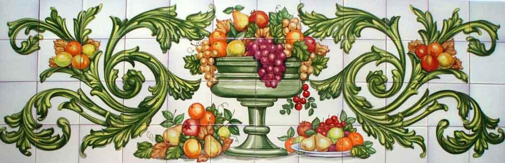 Bodegón barroco con frutero en verde