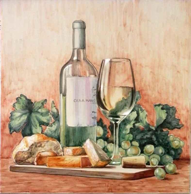 Bodegón con botella copa y uvas