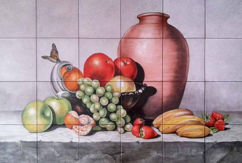Bodegón con frutas y mariposa