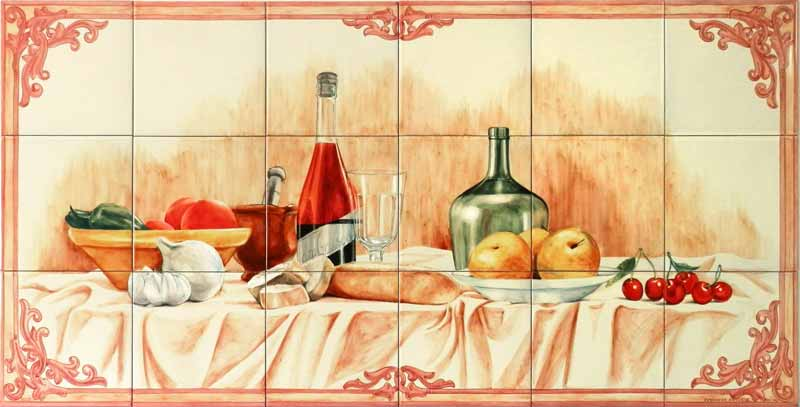 Bodegón con hortalizas, frutas y botellas
