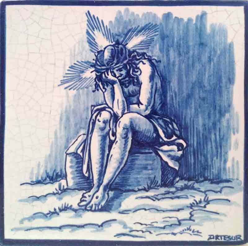 Azulejo Vía Crucis Jesús despojado