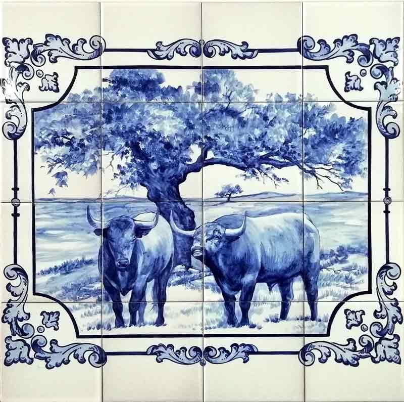 Toros en la dehesa en azul