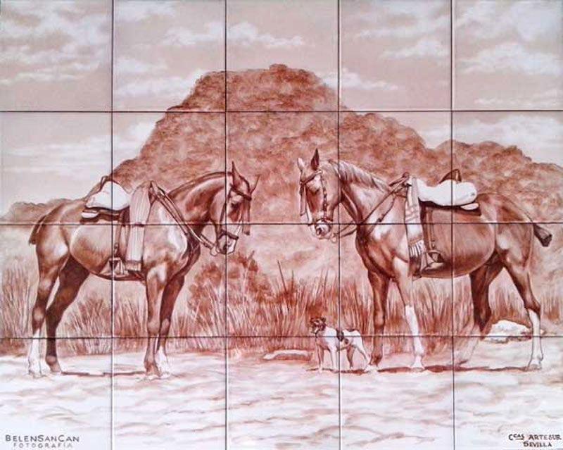 Retrato de caballos en sepia