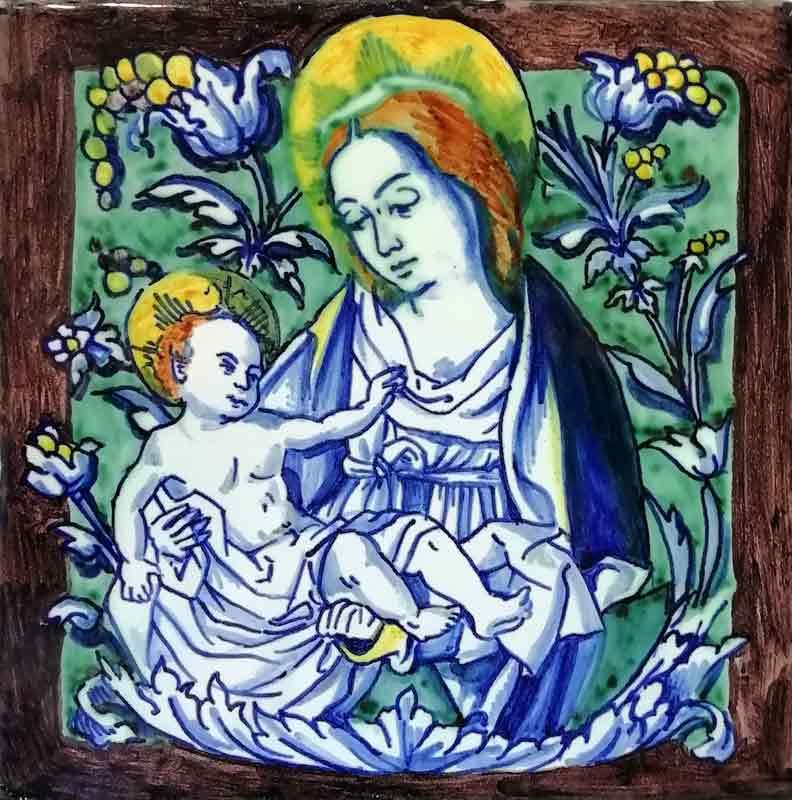 Azulejos sevillanos artesanos pintados a mano - Cerámicas Artesur - Reproducciones antiguas - Virgen Pisano