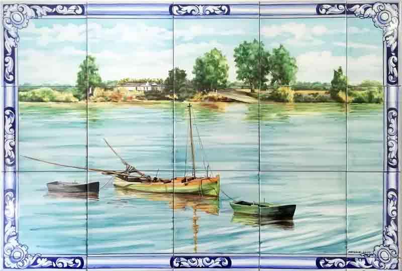Paisaje en azulejos pintado a mano de río con barcas - Cerámicas Artesur
