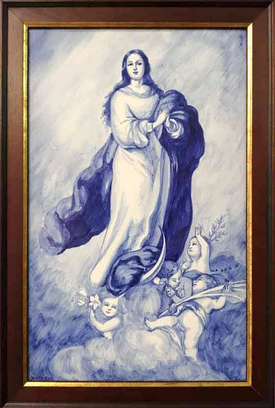 Azulejo Virgen pintado a mano - Cerámicas Artesur - Inmaculada en azul