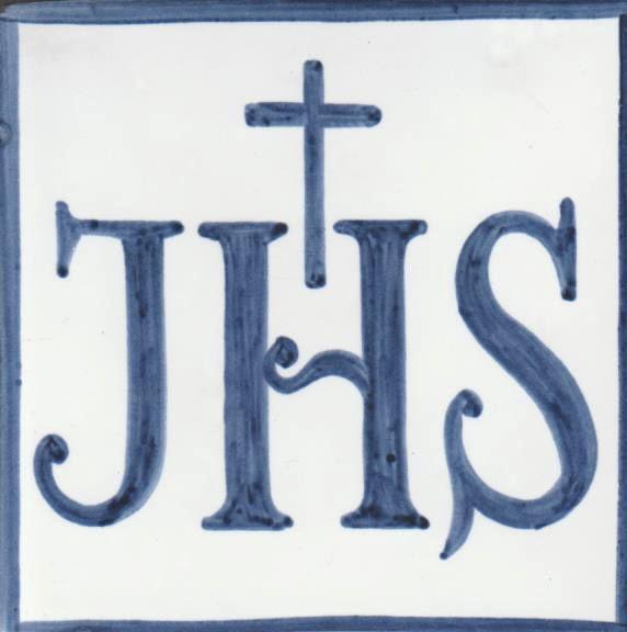 Azulejo pintado a mano- anagrama de Jesús - Cerámicas Artesur