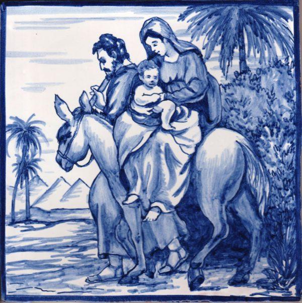 Azulejo pintado a mano acabado antiguo- Huida a Egipto- Cerámicas Artesur