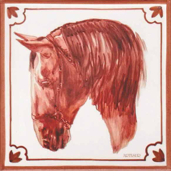 Azulejos impresión calcográfica - Cerámicas Artesur - Cabeza de caballo cb-101-M