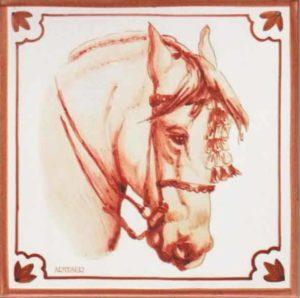 Azulejos impresión calcográfica - Cerámicas Artesur - Cabeza de caballo cb-102-M