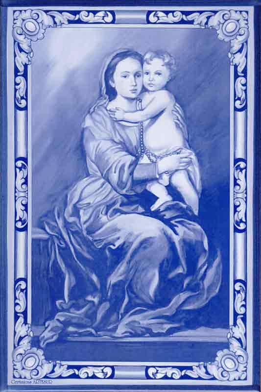 Azulejos impresión calcográfica - Cerámicas Artesur - Virgen del Rosario -SM