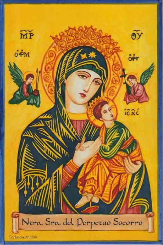 Azulejos impresión calcográfica - Cerámicas Artesur - Virgen del Perpetuo Socorro -sM