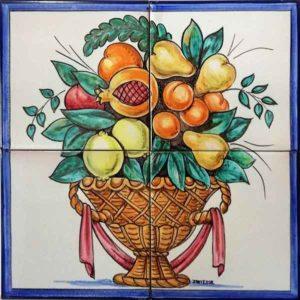Azulejo pintado a mano con frutas- Cerámicas Artesur
