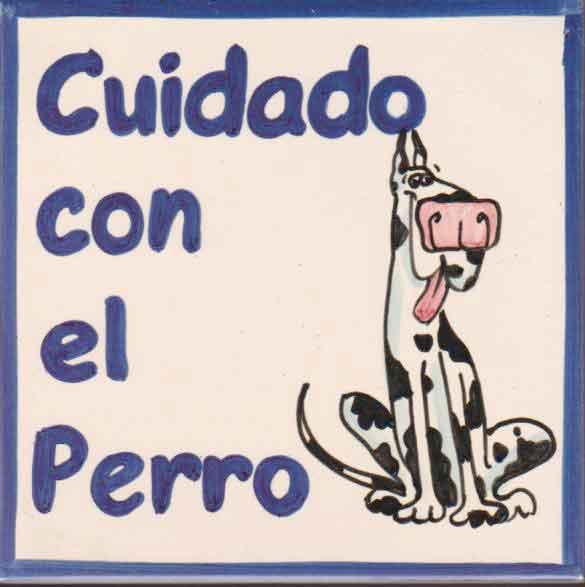 Azulejo pintado a mano - Cuidado con el perro 1 - Cerámicas Artesur