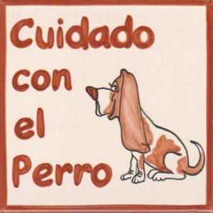 Azulejo pintado a mano - Cuidado con el perro 3 - Cerámicas Artesur