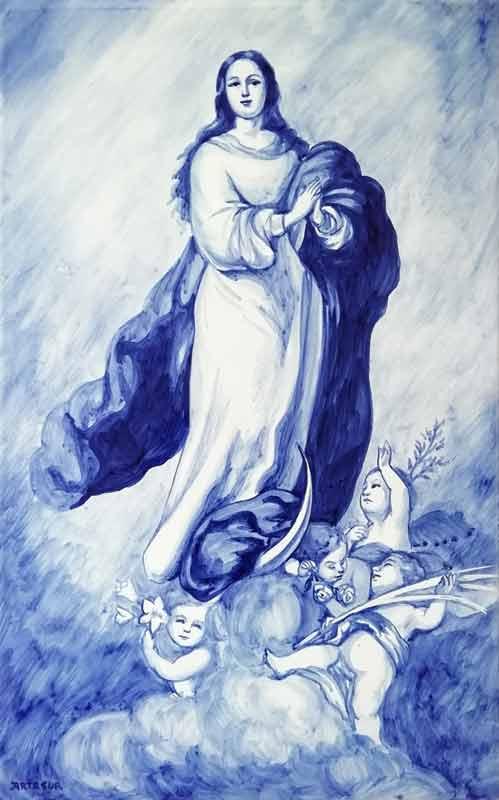 Azulejo Virgen pintado a mano - Cerámicas Artesur - Inmaculada en azul-SM