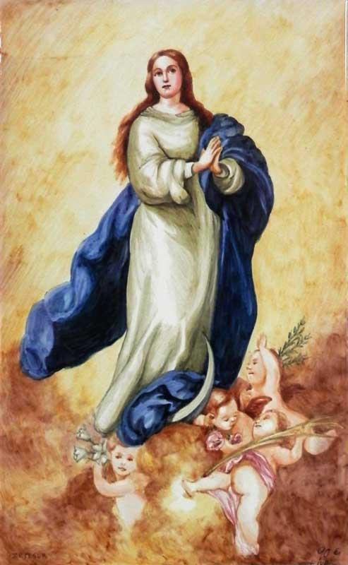 Azulejo Virgen pintado a mano - Cerámicas Artesur - Inmaculada en color - SM