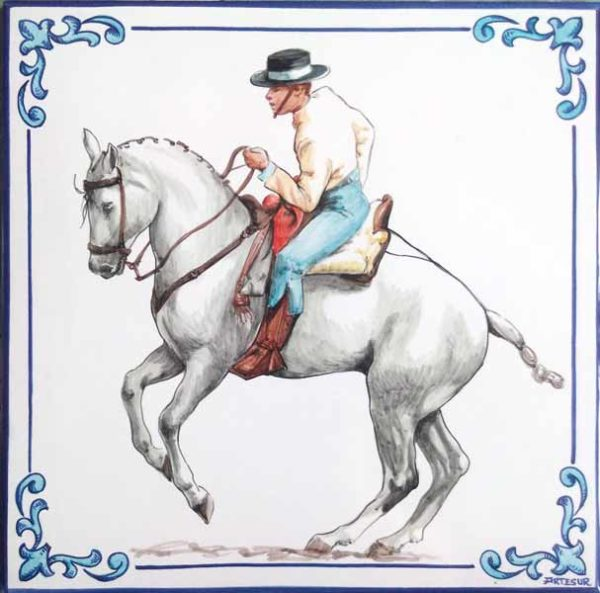 Azulejo pintado a mano - Jinete a caballo - Cerámicas Artesur - sm