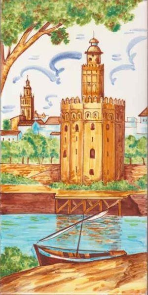 Azulejo pintado a mano - Torre del Oro - Sevilla - Cerámicas Artesur - sm