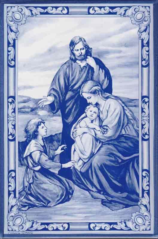 Azulejo Sagrada Familia Nazaret- Impresión calcográfica - Cerámicas Artesur - azul - SM