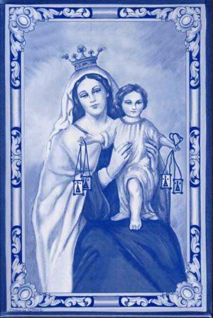Azulejo Virgen del Carmen- Impresión calcográfica - Cerámicas Artesur - azul -SM