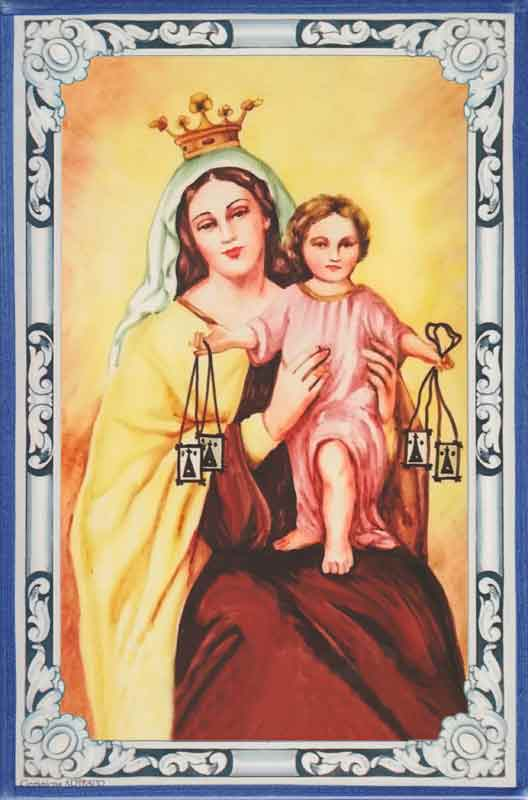 Azulejo Virgen del Carmen- Impresión calcográfica - Cerámicas Artesur - color -SM
