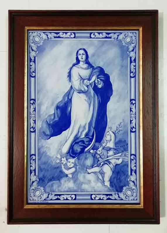 Azulejos impresión calcográfica - Cerámicas Artesur - Inmaculada Concepción - Con marco