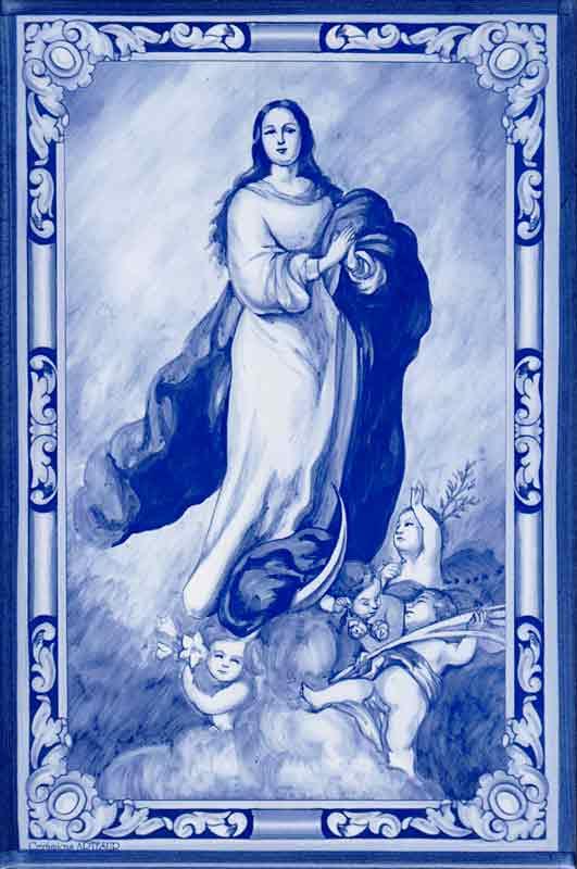 Azulejos impresión calcográfica - Cerámicas Artesur - Inmaculada Concepción - Sin marco