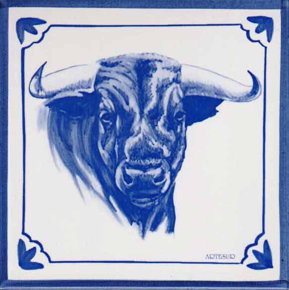Azulejos impresión calcográfica - Cerámicas Artesur - Cabeza de Toro - to-101-A