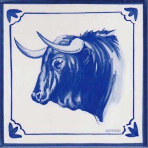 Azulejos impresión calcográfica - Cerámicas Artesur - Cabeza de Toro - to-102-A