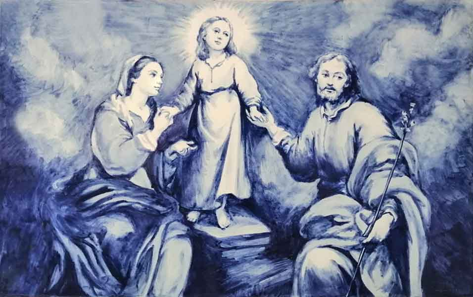 Azulejo religioso pintado a mano - Cerámicas Artesur - Sagrada Familia Murillo-SM