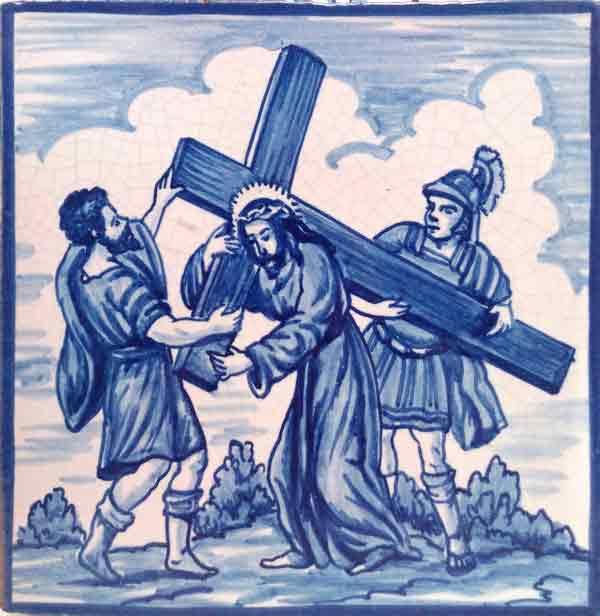 Azulejo pintado a mano acabado antiguo- Via Crucis 3- Cerámicas Artesur