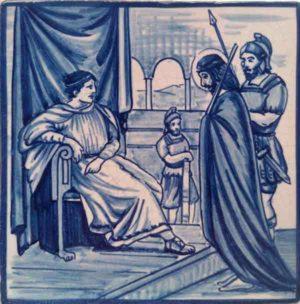 Azulejo pintado a mano acabado antiguo- Via Crucis 1- Cerámicas Artesur