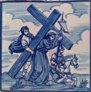 Azulejo pintado a mano acabado antiguo- Via Crucis 2- Cerámicas Artesur