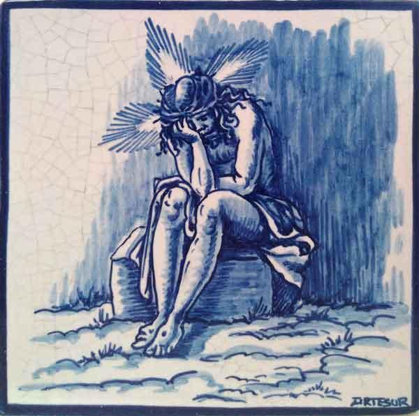 Azulejo pintado a mano acabado antiguo- Cristo Humildad y Paciencia- Cerámicas Artesur
