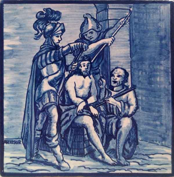 Azulejo pintado a mano acabado antiguo- Via Crucis 5- Cerámicas Artesur