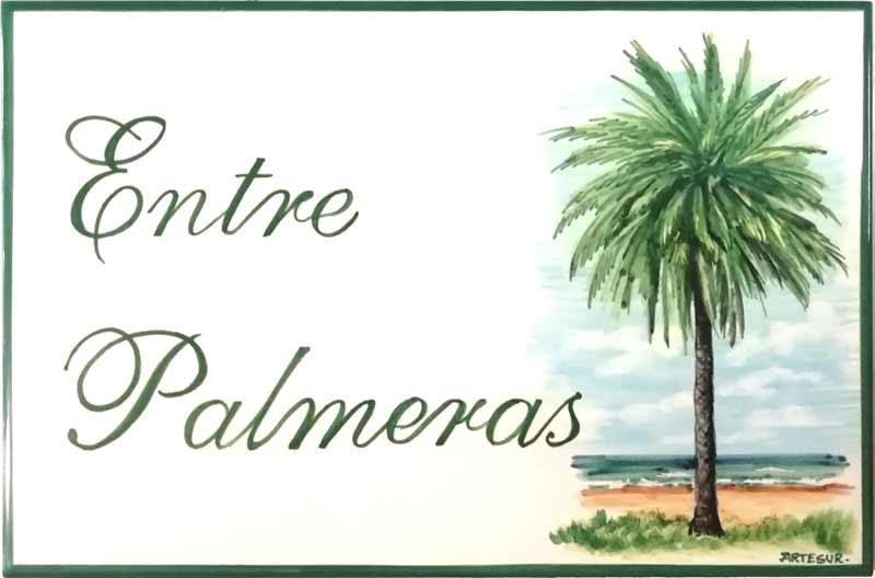 Azulejos artesanos pintados a mano en el estilo sevillano - Artesur - Azulejos para casas - Entre palmeras - 615-B